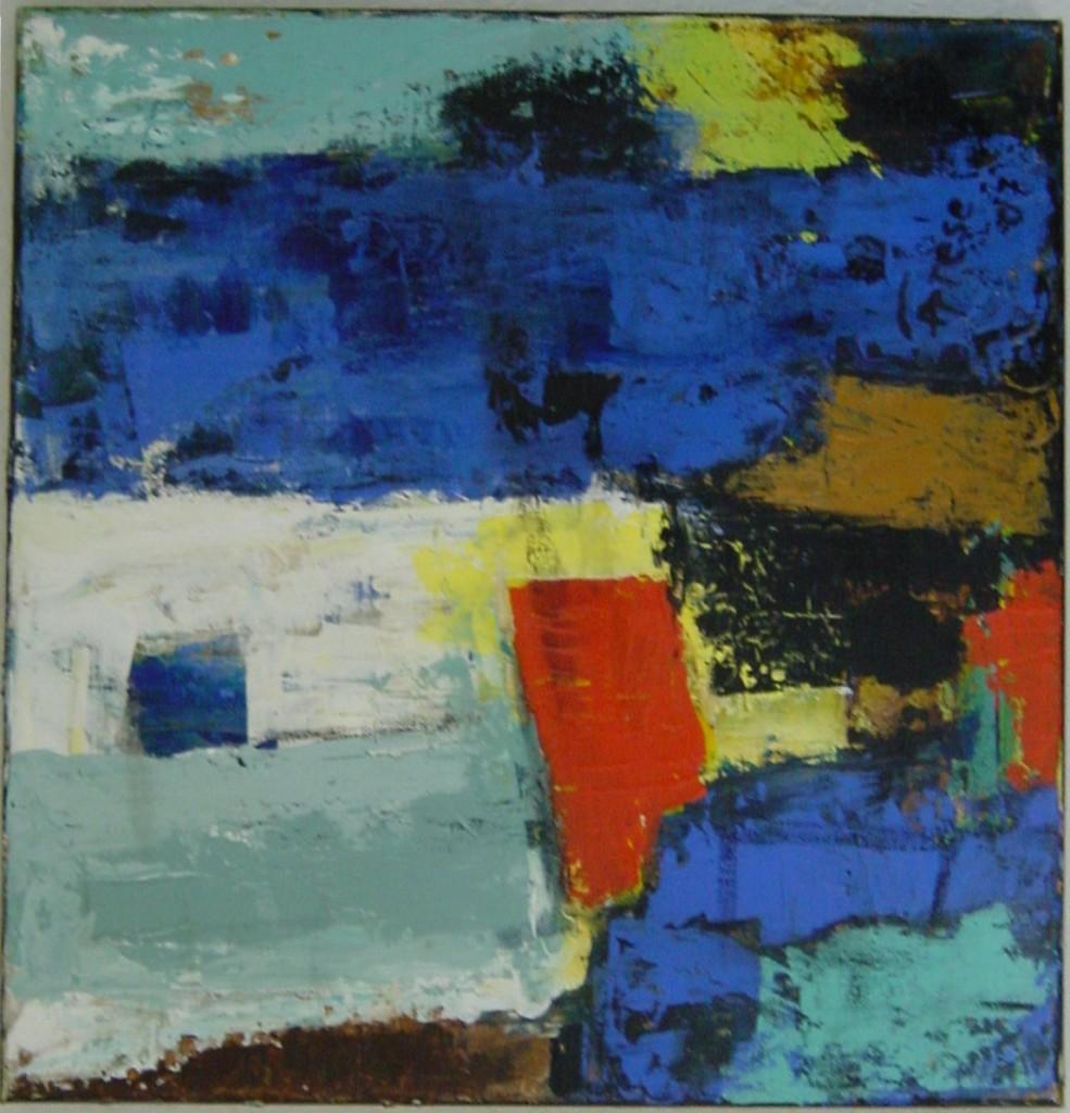 Rød blå komposition 40x40